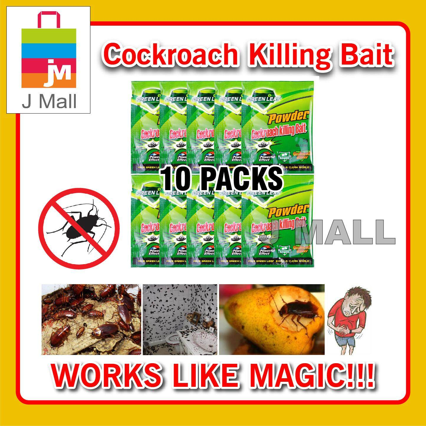 Powder Ant Killing Bait 10 Packs / Cockroach Killing Bait 10 Packs By J Mall.