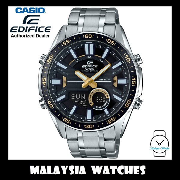 (OFFICIAL WARRANTY) Casio Edifice EFV-C100D-1B Analog-Digital Chronograph Black / Gold Dial Stainless Steel Mens Watch EFVC100D EFV-C100D-1BV EFV-C100D-1BVDF Malaysia