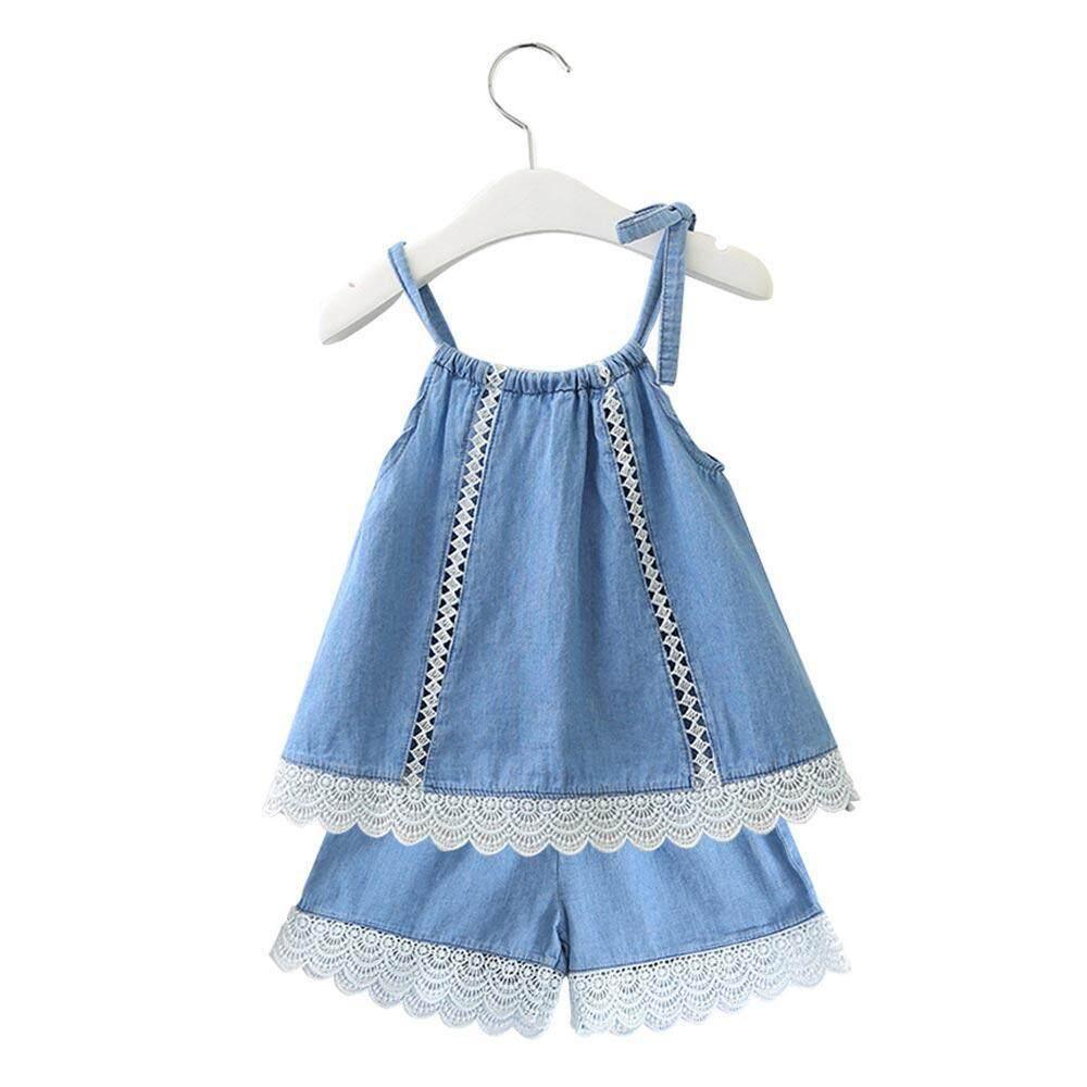 c60981a35 OnLook Korean style girls summer suit lace denim sling + denim shorts  two-piece suit