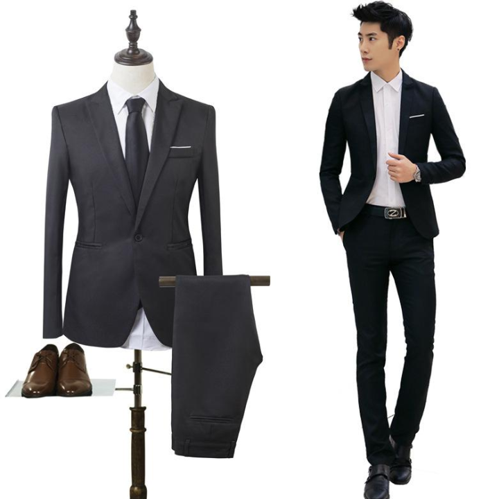 Men Business Casual Suit Two Piece Suit Groom S Best Man Wedding Suits Party Tuxedos Groom Dress Free Gift Tie Brooch Lazada