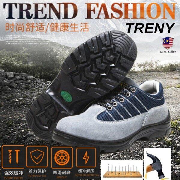 TRENY 2022 Anti Slip Safety Shoes Anti Smash Protective Steel Toe Cap Boots Shoes Kasut Keselamatan Kasut Safety Kilang  Site