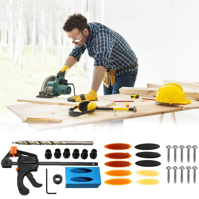 31Pcs Woodworking Pocket Hole Jig Kit 6/8/10mm Angle Drill Guide Set Hole Puncher Locator Jig Drill Bit Set For DIY Carpentry Tools