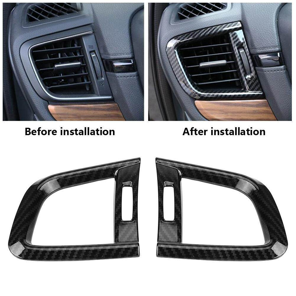 Carbon Fiber Style Rear Air Conditioning Vent Outlet Frame Decorative Cover Trim for Honda CRV 2017