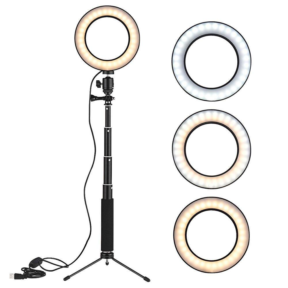 Đèn LED Tròn Video Mini 8 Inch Để Bàn, Thay Đổi Độ Sáng 3 Chế Độ Chiếu Sáng Hỗ Trợ USB Với Chân Đèn Kính Thiên Văn Chân Máy Tính Để Bàn Mini Để Phát Sóng Mạng Trang Điểm Mặt Selfie