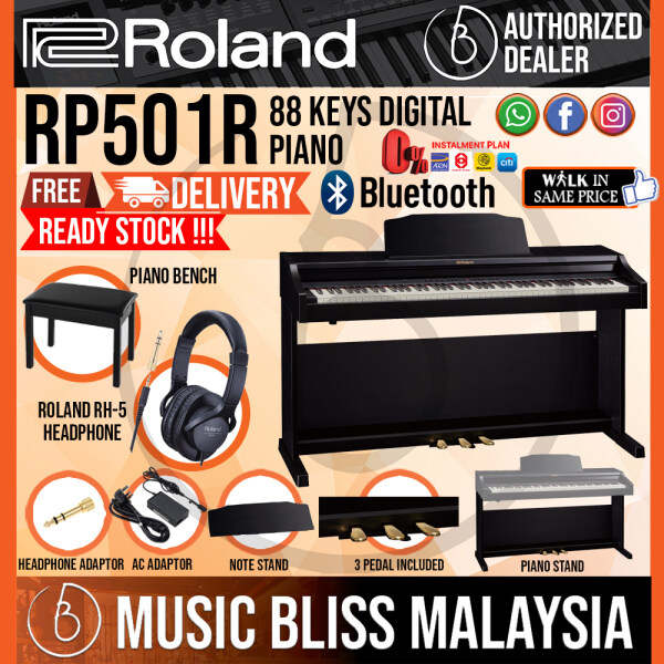 Roland RP501R 88-key Digital Piano with FREE RH-5 Headphone - Contemporary Black (RP-501R RP 501R) Malaysia