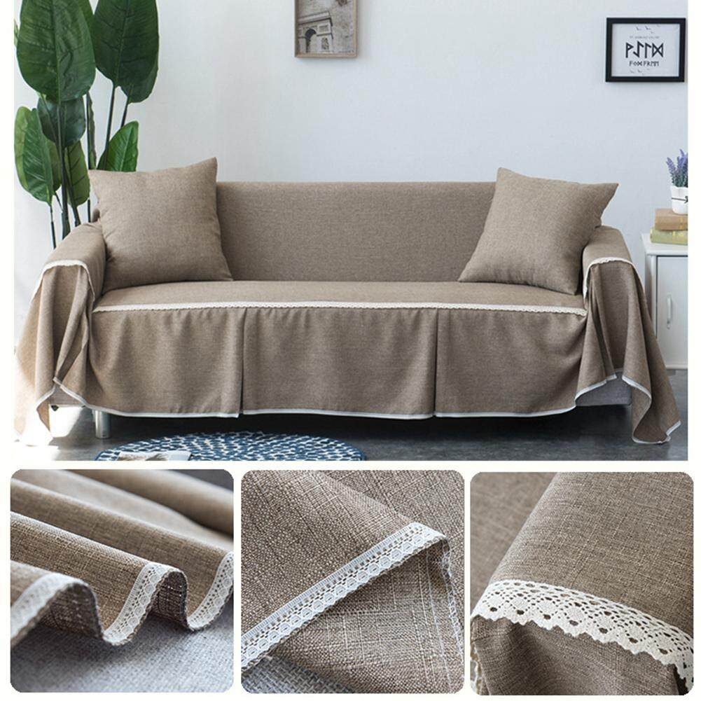 KEJARYAmerican Country Style  Imitation Linen Solid Color  Fabric Non-slip Sofa Cover  Sofa Towel Full Cover Elegant Seat Furniture Protector Cushions Sofa Towel  Not Including Pillows