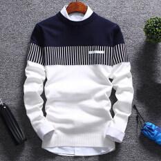 Bullker Fashion Men Miếng Vá Khối Màu O Cổ Tay Áo Dài Áo Len Dệt Áo Trên