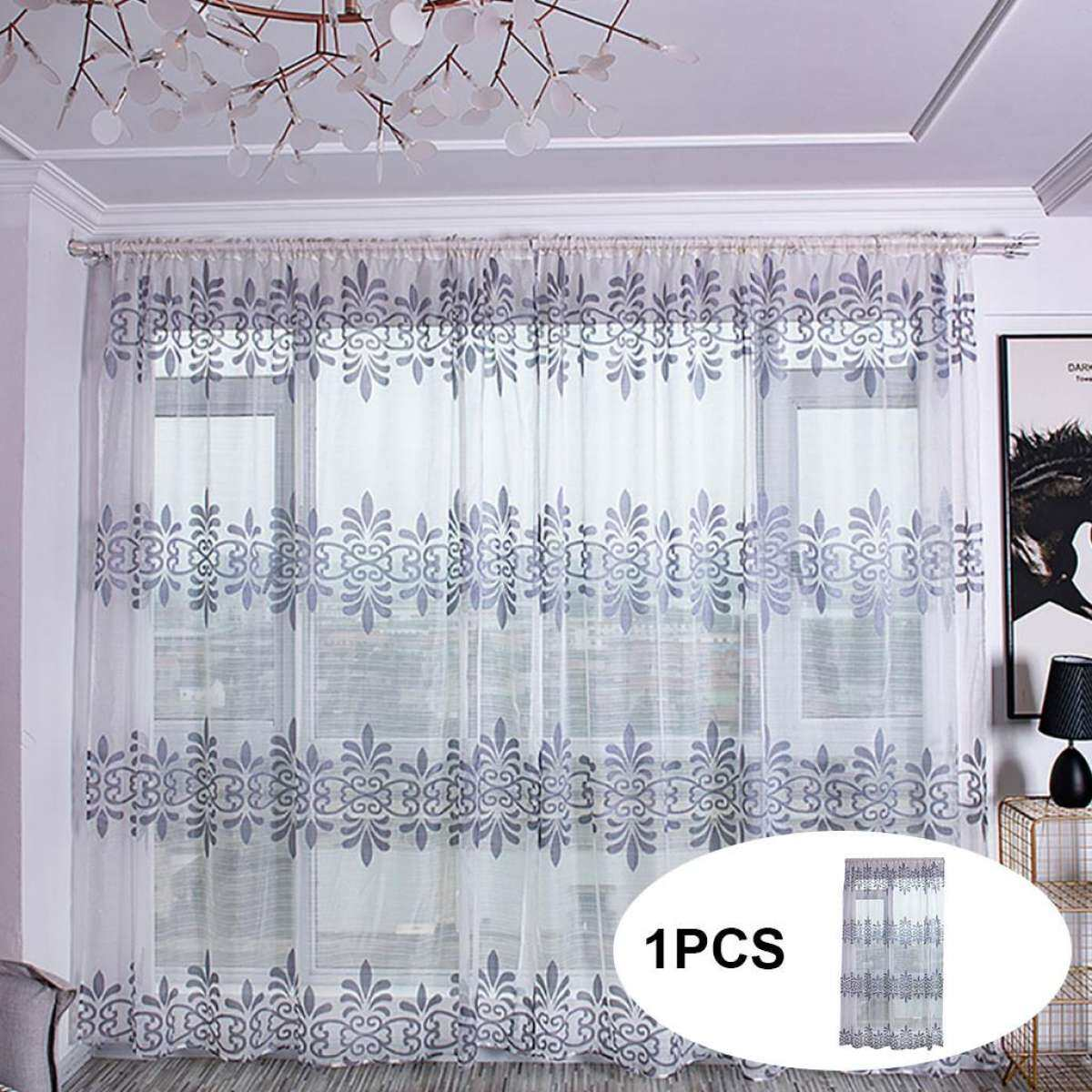 Ackeryshop Sheer Curtain Tulle Window Treatment Voile Drape Valance Fabric Textiles Window Decoration Sticker Curtains Blinds Glass Tint For Home Polyester Grey Lazada