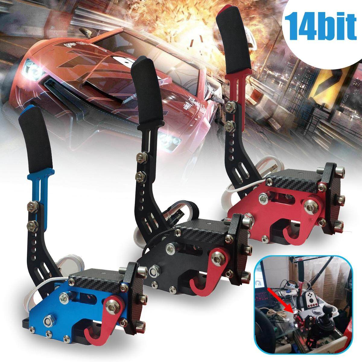 【Free Shipping + Flash Deal】14Bit PC USB Handbrake SIM for Racing Games  G25/27/29 T500 FANATECOSW DIRT RALLY Blue