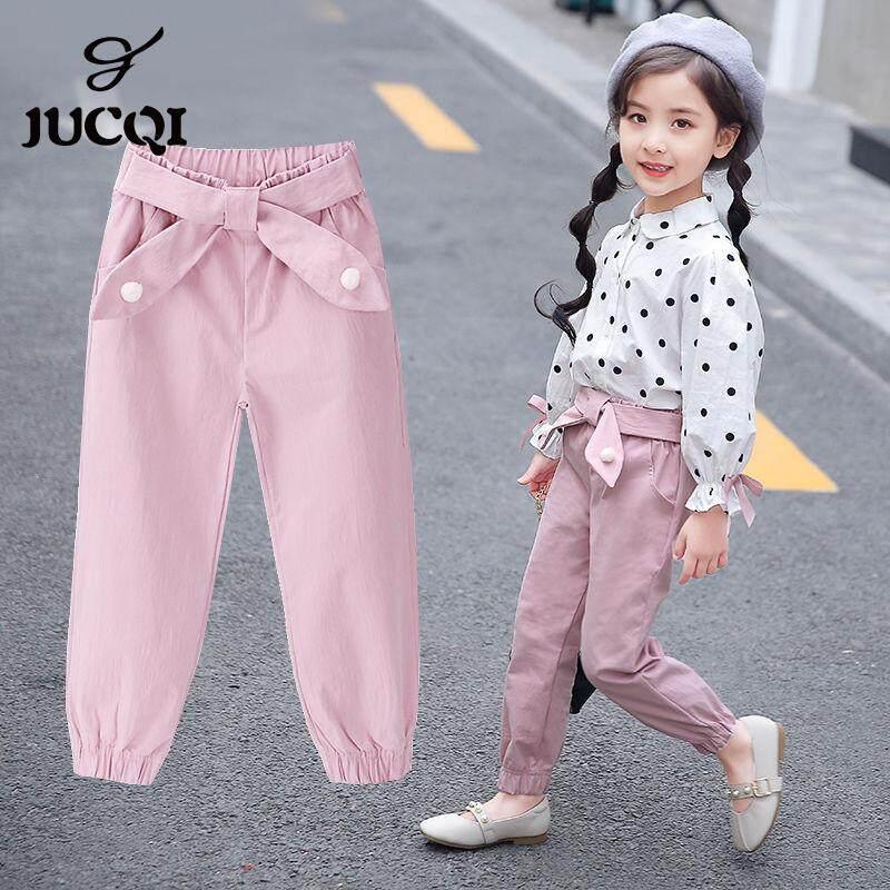 Girls Trousers School Uniform Kids Pants Elasticated Plain Casual Fashion Summer