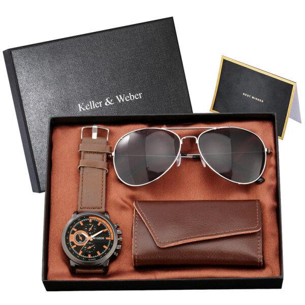 AIKEN Fashion Mens Accessory Men Quartz Analog Watches with Black Sunglass Key Package Gift Set Box Malaysia