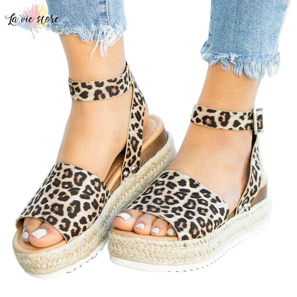 Giá bán La VIS Nữ Nền Tảng Giày Sandal Dây Đeo Mắt Cá Chân Thoải Mái Đi Biển Mùa Hè Peep Toe Giày