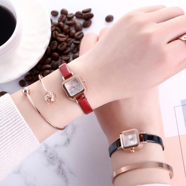 [Ready Stock]Womens Slim Faux Leather Strap Watches Square Dial Analog Quartz Wrist Watch Gift Malaysia