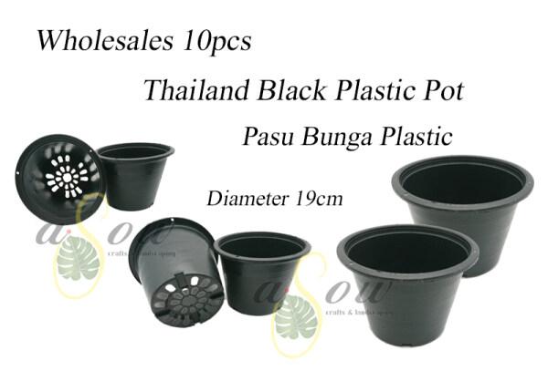 [PLASTIC POT] 10pcs Wholesales Thailand Diameter 19cm Black Color Plastic Pot Pasu Bunga