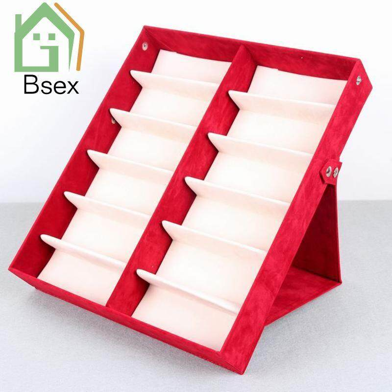 Bsex COD 12 glasses display cabinet sunglasses velvet storage box foldable display cabinet 33 x 37 x 6 cm