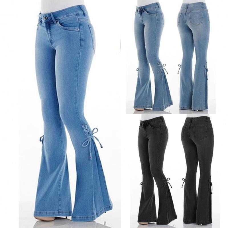 2e13e9ee33fa0 New popular comfortable and durable women's ladies fashion tight high waist  flare jeans long jeans