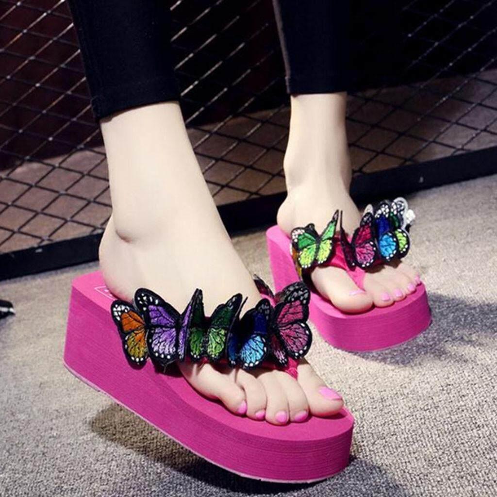 Color Women Girls Butterfly Floral Wedges Flip Flops Sandals Slippers Beach Shoe