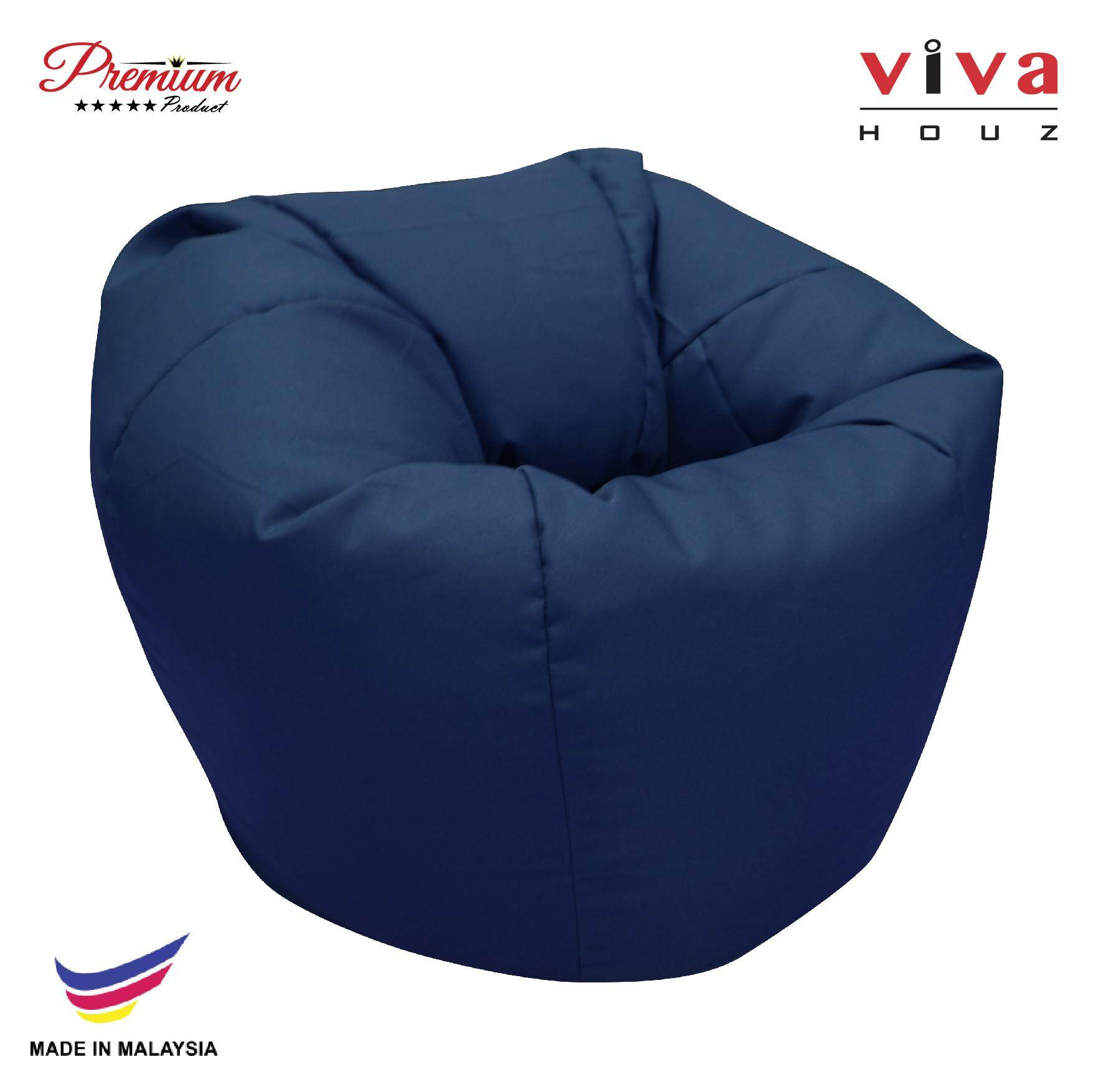 Hot Selling : Perfect Bean Bag Sofa Pouffe Chair L Size Navy Blue Made In Malaysia By Viva Living.