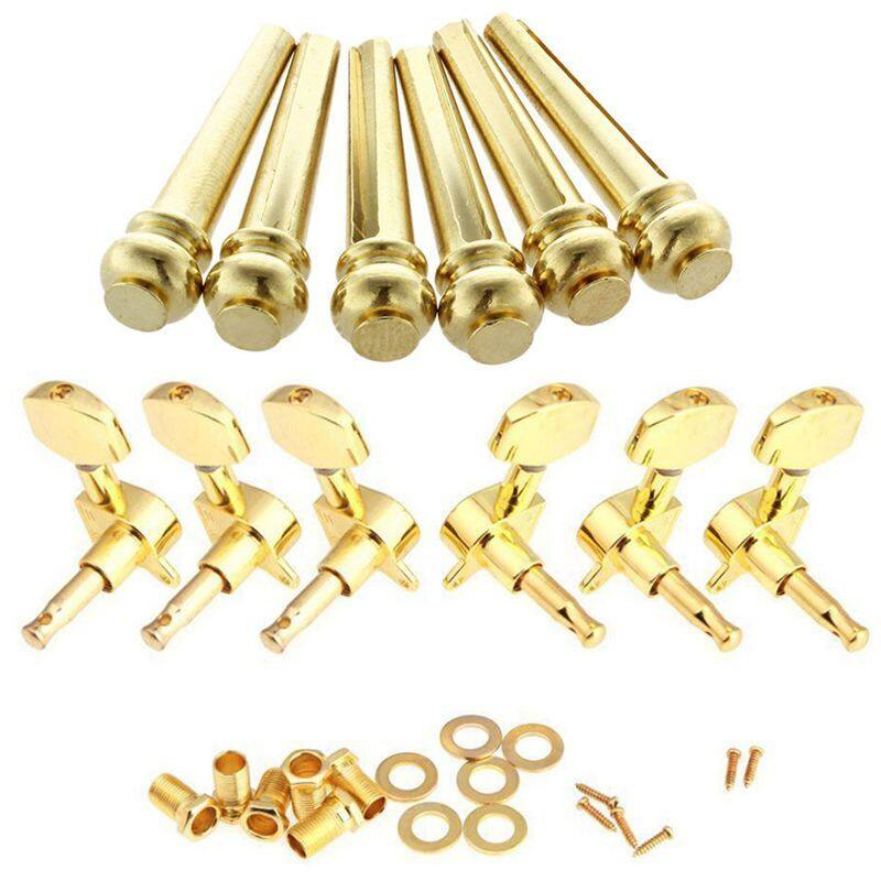 6Pcs Acoustic Guitar Bridge Pins Brass & 1 Set Gold Sealed Guitar String Tuning Pegs Tuners Machine Heads 3L+3R Malaysia