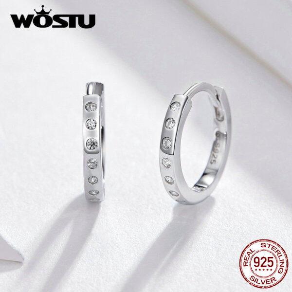 Wostu Khuyên Tai Tròn Cho Phụ Nữ 925 Sterling Bạc Tối Giản Đơn Giản Vòng Tròn Earing Bất Hàn Quốc Màu Bạc Trang Sức Thời Trang ZBBSE101