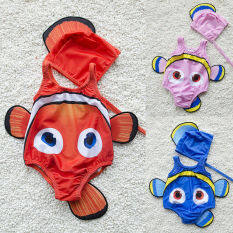 [Mmyard]2 Chiếc 3D Cho Trẻ Em Áo Tắm Bé Gái Đuôi Cá Vàng Áo Tắm Một Mảnh Đồ Bơi Trang Phục Bơi Đồ Bơi Mặc Đi Biển Mũ 1-6T