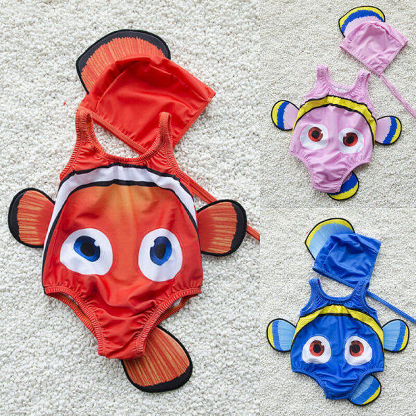 Nơi bán [Mmyard]2 Chiếc 3D Cho Trẻ Em Áo Tắm Bé Gái Đuôi Cá Vàng Áo Tắm Một Mảnh Đồ Bơi Trang Phục Bơi Đồ Bơi Mặc Đi Biển Mũ 1-6T