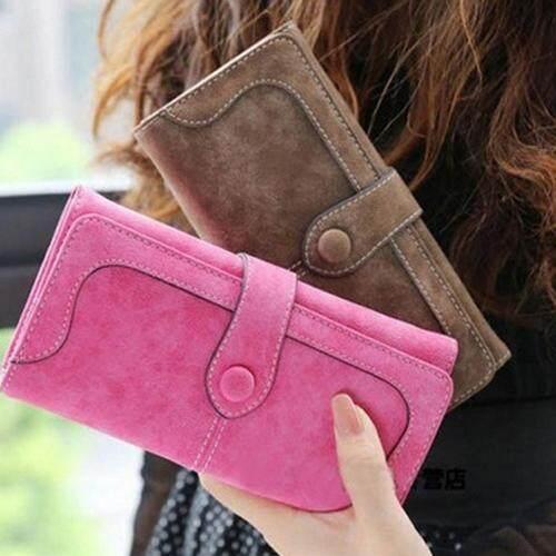 Anipopy Fashion Retro Matte Stitching Leather Wallet Women Long Purse Ladies Clutch