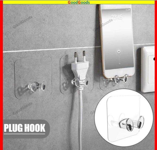 🔥Plug Holder Kitchen Wall Strong Adhesive Hook Creative Socket Hook Wall Hook Hooks Tapes Adhesives 挂钩