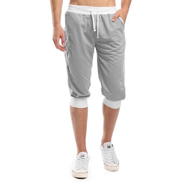 Supercart Men\s Stylish Loose Fit Sports Casual Side White Stripe Elastic Medium Waist Harem Cropped Pants Trousers By Supercart.