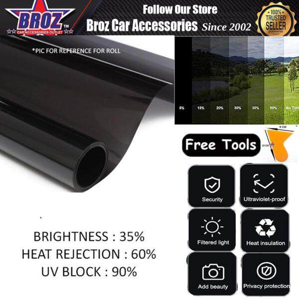 Free Tools Window Tint Film Black 35% 50cm 60cm 70cm 80cm 90cm 100cm 152cm 2FT 4FT 6FT Privacy Protection Filtered Light Heat Insulation Ultraviolet Proof Exactly Perfect Fit For Home and Office Window Size Choose in Variation