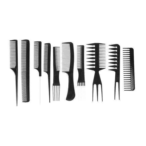 10 Cái Đen Pro Salon Tạo Kiểu Tóc Làm Tóc Nhựa Thợ Cắt Tóc Bàn Chải nhập khẩu