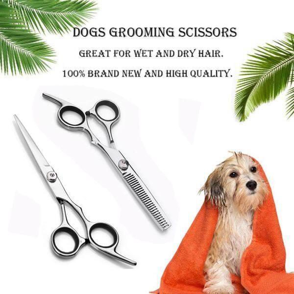 CLCHI Cao thủ Làm tóc Lưỡi Thú vật Kéo thú cưng Kéo cắt vật nuôi Sản phẩm dành cho chó Kéo chải lông