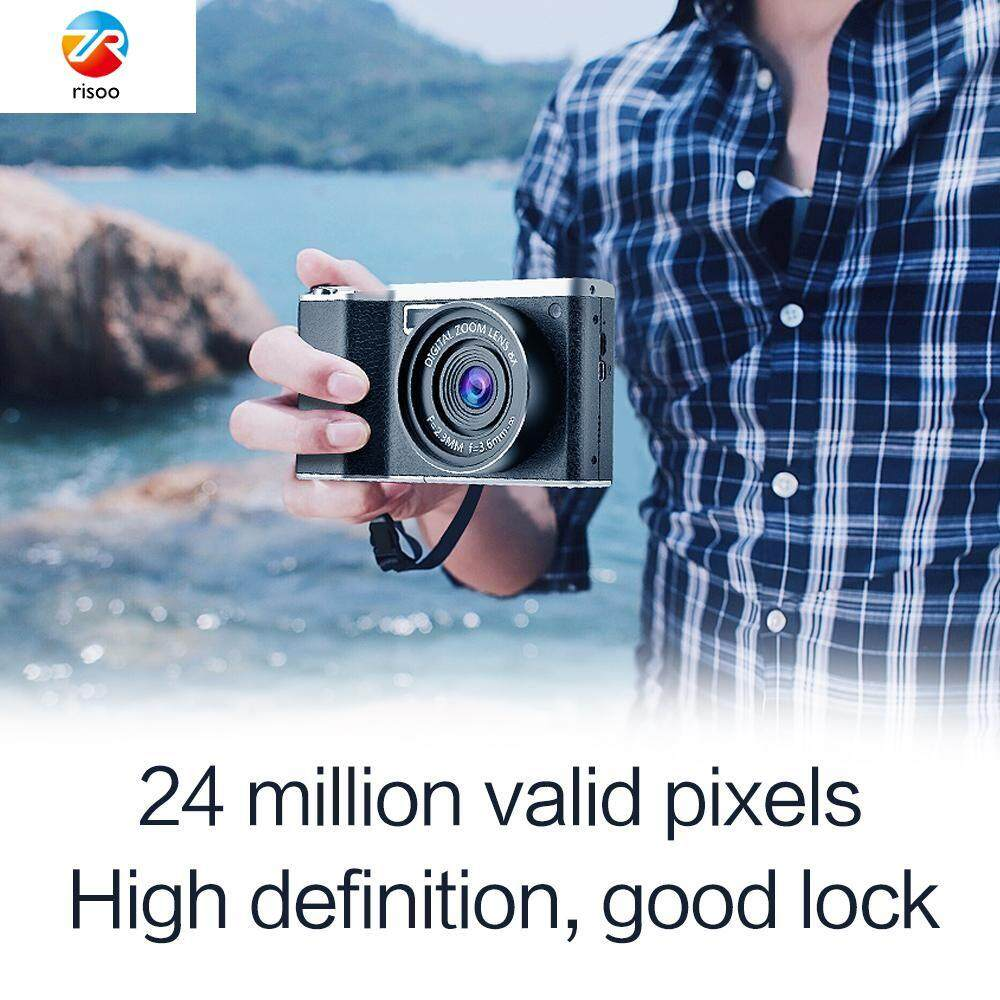Risoo Digital Camera 4.0 inch IPS Touch Screen Full HD 24MP Resolution 8X Digital Zoom CMOS SLR Camera with Zoom Lens Wide Angle