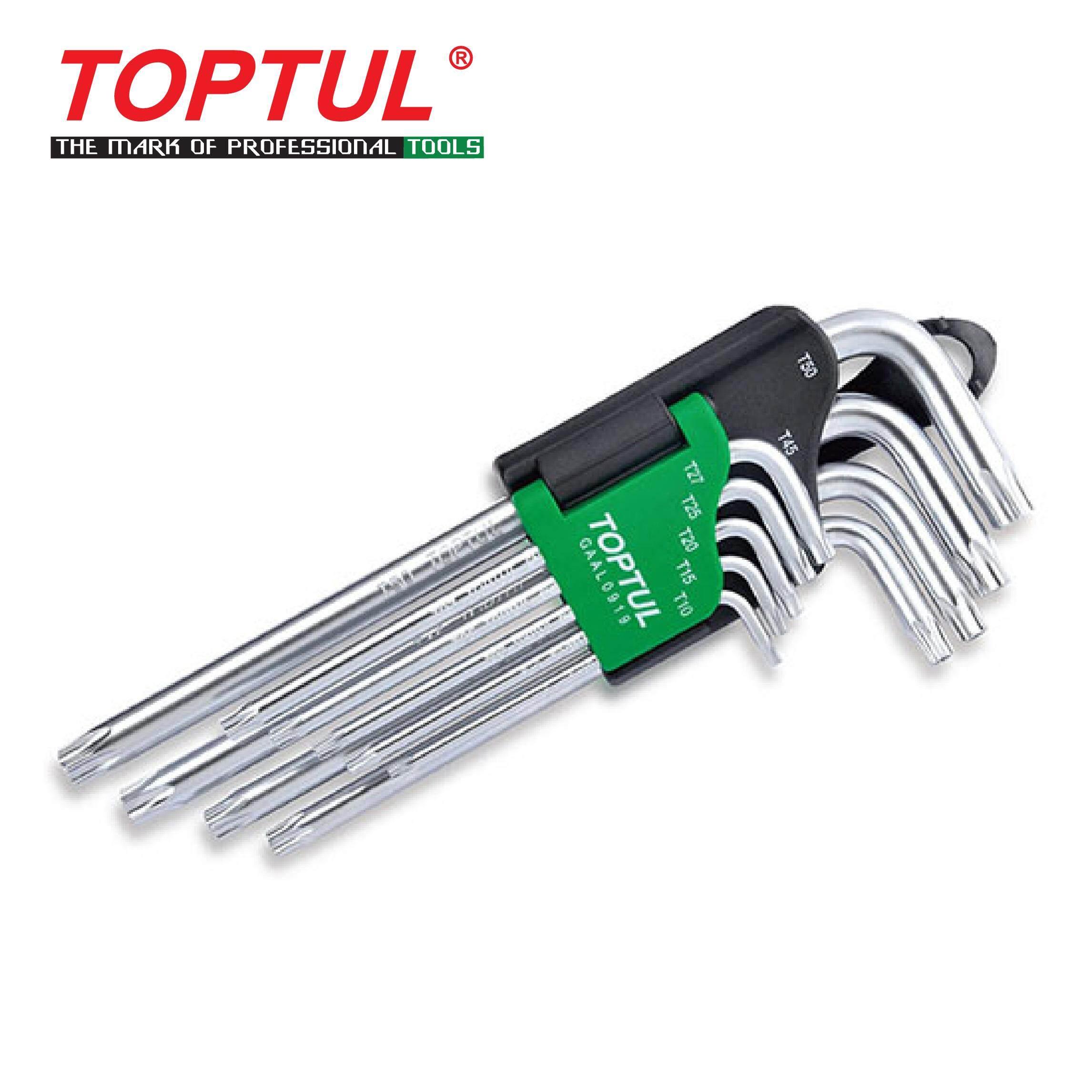 TOPTUL 9PCS Long Type Star Tamperproof Key Wrench Set (GAAL0919)