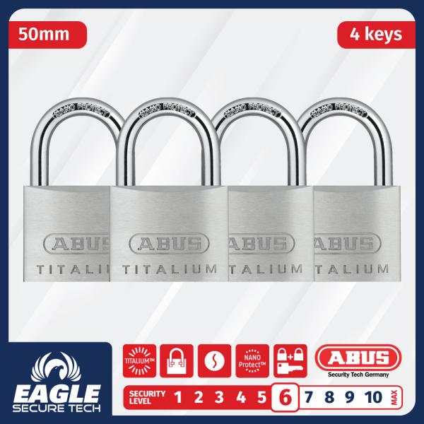 ABUS 64TI/50 | 50MM | TITALIUM™ | Outdoor Padlock | 4 Units