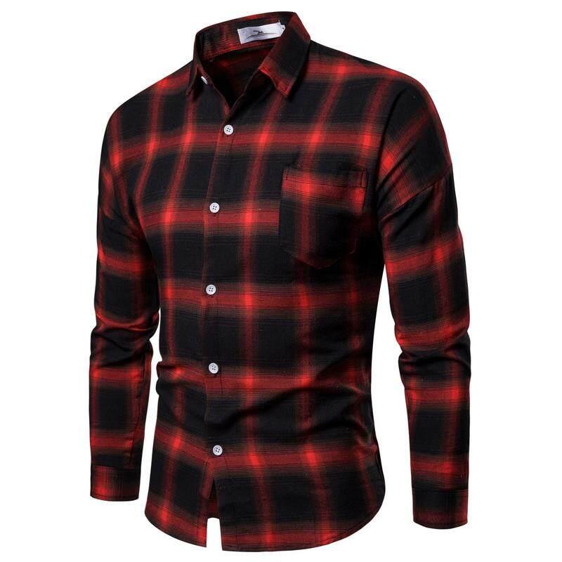c4bacac42c6 Plaid Shirt Casual Blouse Men Long sleeve Fashion Mens Dress Shirts Slim  fit Red Blue Black
