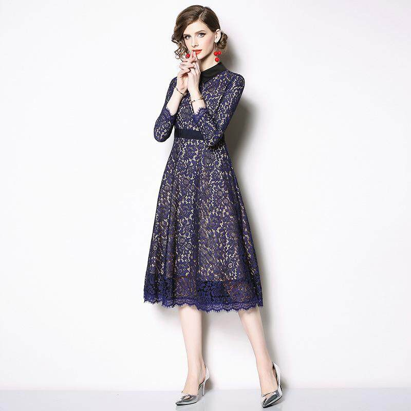f4129267fc60 2019 Women s Clothing Spring and Autumn New Doll Collar Lace Hollow  Nine-point Sleeve A