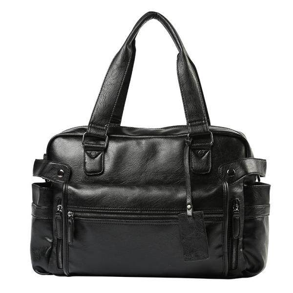 Business Casual Handbag Men 2019 New PU Leather Large-capacity Business Briefcase Trend Personality Outdoor Short-distance Travel Shoulder Bag Sports Gym Bag