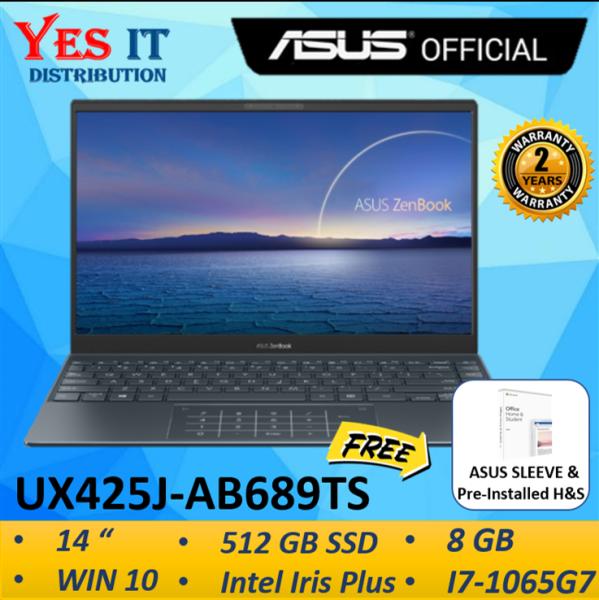 Asus ZenBook 14 UX425J-AB689TS 14 FHD Laptop Pine Grey ( i7-1065G7, 8GB, 512GB SSD, Intel, W10, 2YW ) FREE SLEEVE & HS Malaysia