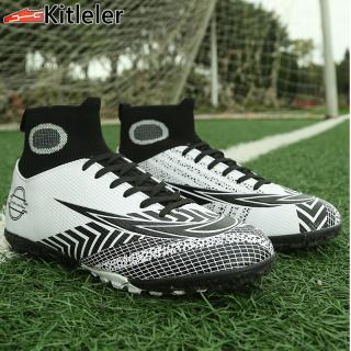 Bốt Đá Bóng Nam Cổ Cao Mới Giày Đá Bóng Mũi Nhọn Ngắn Dài Ngoài Trời Đào Tạo Bóng Đá Futsal Giày, Giày Đinh Đá Bóng Da Cỡ Lớn Cho Bé Trai (35-45) thumbnail