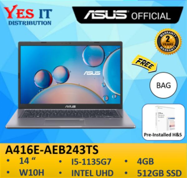 Asus A416E-AEB243TS 14 FHD Laptop Slate Grey ( i5-1135G7, 4GB, 512GB SSD, Intel, W10, HS, 2YW ) FREE BAG Malaysia