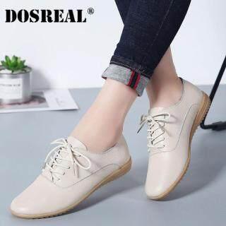 Dosreal Giày Oxford Nữ Da Đế Giày Nữ Màu Be Phối Ren Giày Cho Nữ Giày Trắng thumbnail