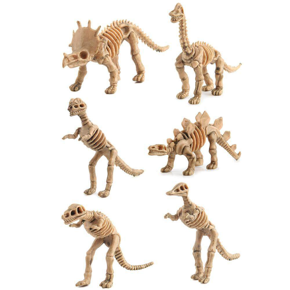 VAYu Dinosaur Fossil Skeleton (6 Pieces) Assorted Figures Dino Bones, 3 5  Inch - for Science Play, Dino Sand Dig, Party Favor & Decorations