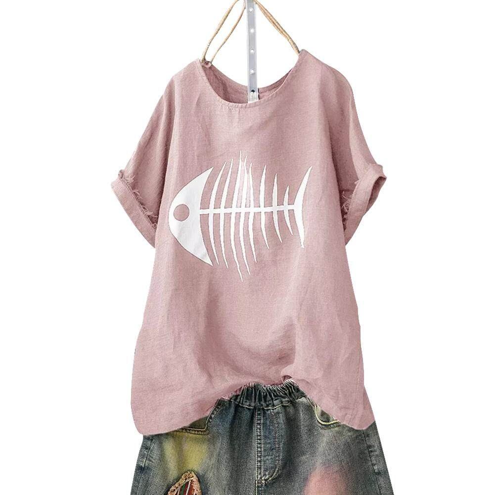 6c585b75 Travel Short Sleeve Fish Bone Print Soft Top Clubwear Plus Size Basic  Shopping Daily Casual Summer