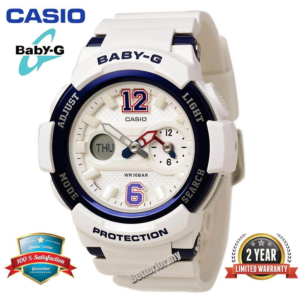 (Ready Stock)Original Casio BabyG_BGA-210-7B2JF Women Sport Watch Duo W/Time 100M Water Resistant Shockproof and Waterproof World Time LED Light Girl Wist Sports Watches with 2 Year Warranty BGA210/BGA-210 White Black Malaysia