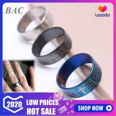 Bac แหวนผู้ชายสแตนเลสพระคัมภีร์ข้ามแหวนเครื่องประดับคู่