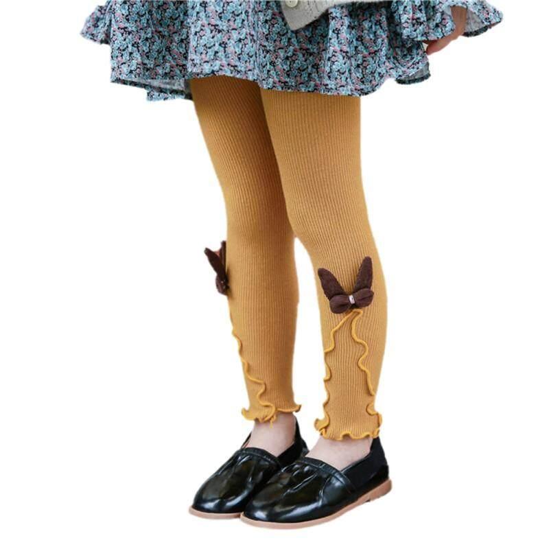 0db71d312ea Autumn Kids Girls Knitted Leggings Children Solid Legging Baby Toddler  Casual Ankle Bowknot Stockings