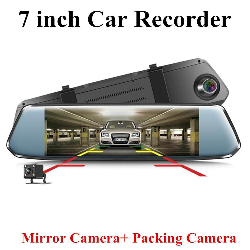 7 inch 1080P Car Recorder Dash Cam IPS Dual Camera Rear Mirror Car DVR Camcorder Wide