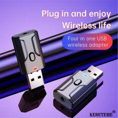Kebeteme 4 Trong 1 Bluetooth 5.0 Thiết Bị Thu Nhận Âm Thanh Máy Phát Mini Stereo Bluetooth AUX RCA USB 3.5 Mm Jack Cho T V PC Bộ Phụ Kiện Xe Ô Tô Bộ Chuyển Đổi Không Dây