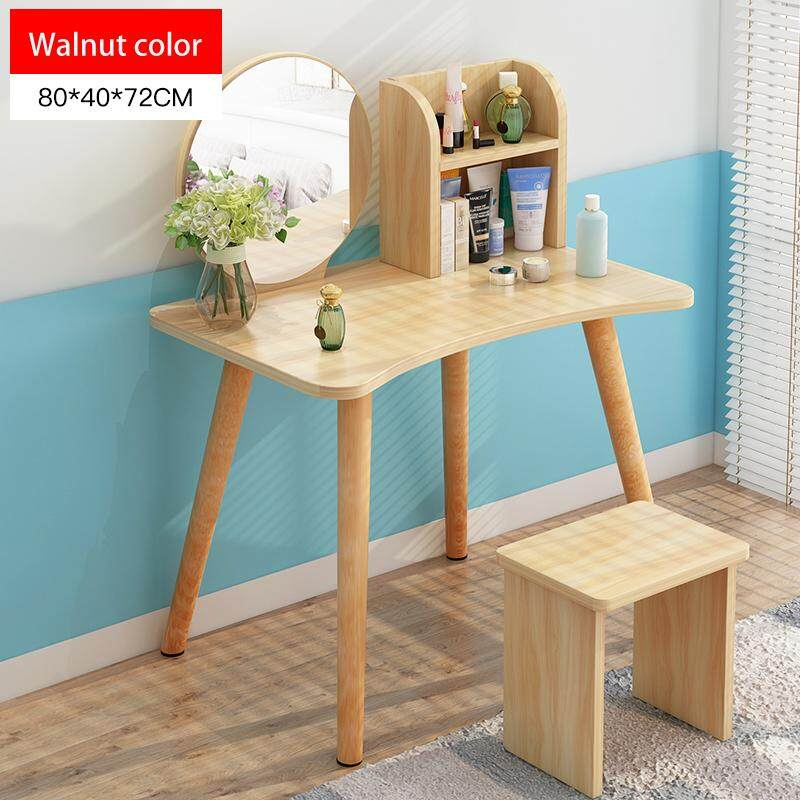 80x40x72cm, Vanity Set, Dressing Table with HD Round Mirror and Stool, 2 Shelves Wood Legs, Easy Assembly